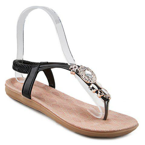 Elastic Band Rhinestones Flat Sandals - Black - 38