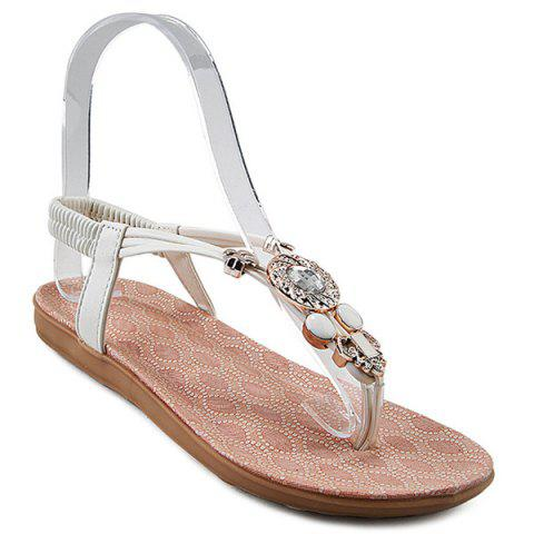 Fancy Elastic Band Rhinestones Flat Sandals
