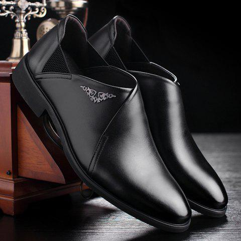 Sale PU Leather Elastic Band Formal Shoes - 40 BLACK Mobile