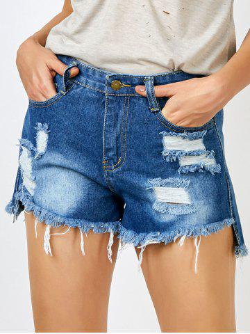 Outfits Ripped Jean Shorts with Pockets BLUE M