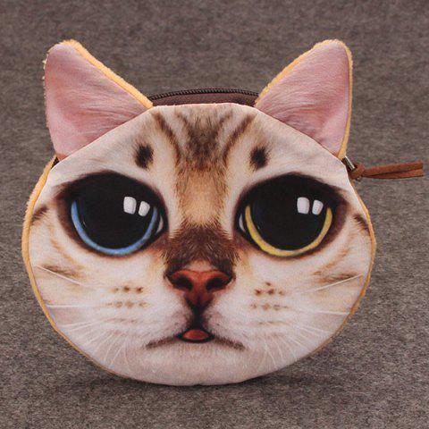 Hot Funny Cat 3D Painted Coin Purse - WHITE  Mobile