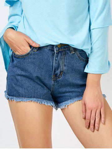 Outfits High Rise Fringed Cut Off Denim Shorts