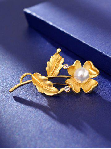 Shops Artificial Pearl Rhinestone Flower Brooch - GOLDEN  Mobile