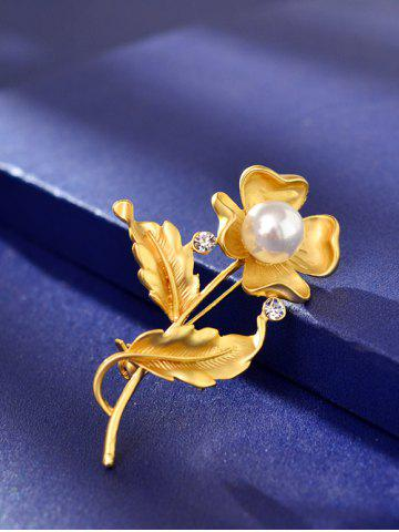 Unique Artificial Pearl Rhinestone Flower Brooch - GOLDEN  Mobile