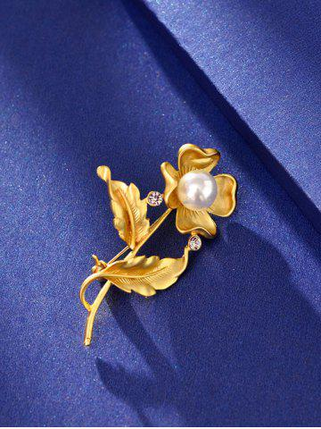 Fashion Artificial Pearl Rhinestone Flower Brooch - GOLDEN  Mobile