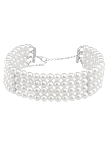 Shops Multilayered Artificial Pearl Necklace WHITE