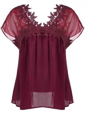 Plus Size Applique Cap Sleeve Smock Blouse - Dark Red - 5xl