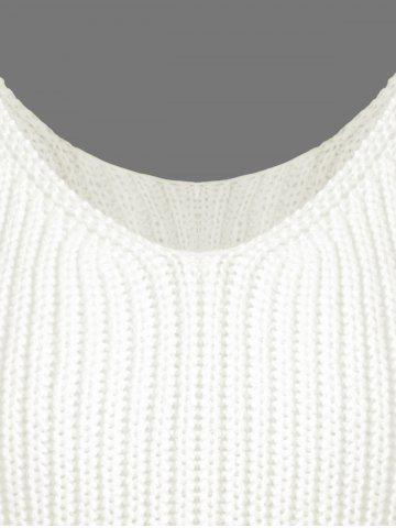 Trendy Ribbed Tassel Knitted Tank Top - ONE SIZE OFF-WHITE Mobile