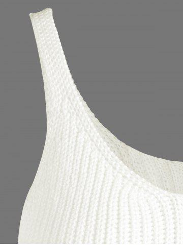 Fancy Ribbed Tassel Knitted Tank Top - ONE SIZE OFF-WHITE Mobile