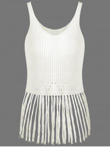 Ribbed Tassel Knitted Tank Top - OFF WHITE ONE SIZE