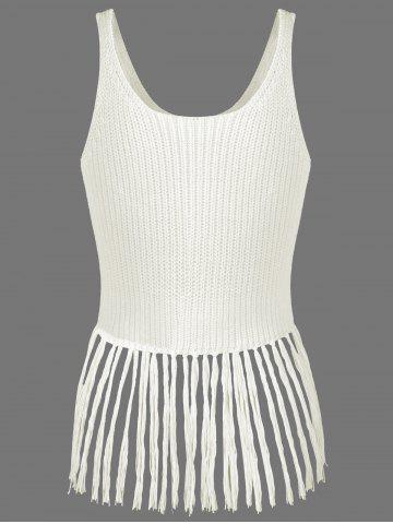 Affordable Ribbed Tassel Knitted Tank Top - ONE SIZE OFF-WHITE Mobile
