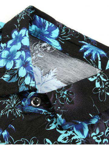 Affordable Casual Short Sleeve Summer Button Down Hawaiian Shirt - M BLUE Mobile