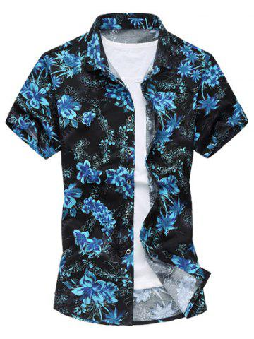Online Casual Short Sleeve Summer Button Down Hawaiian Shirt BLUE M