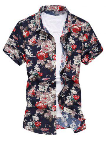 Trendy Short Sleeve Floral Printing Hawaiian Shirt FLORAL L