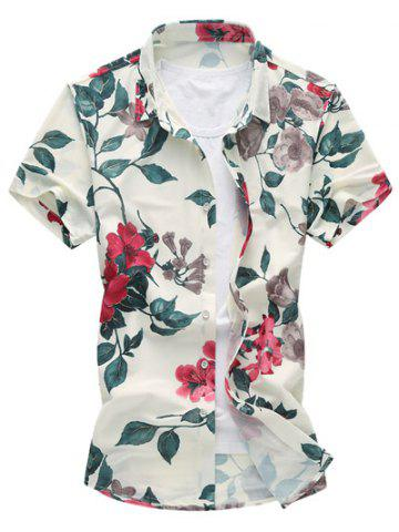 Discount Floral Print Short Sleeve Hawaiian Shirt - M RED Mobile