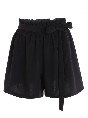 Fancy Plus Size Self Tie Culotte Shorts BLACK 4XL
