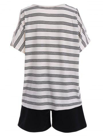 Cheap Plus Size Active Stripe T-Shirt With Shorts - 5XL BLACK Mobile