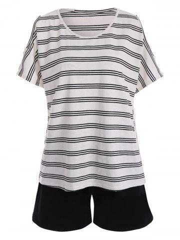 Fashion Plus Size Active Stripe T-Shirt With Shorts
