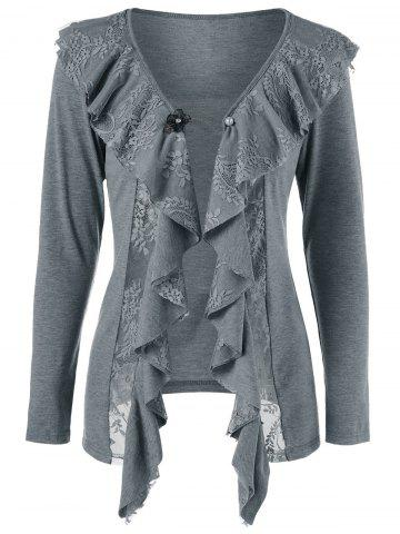 New Lace Insert Cardigan with Brooch