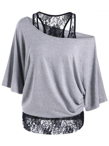 Best Skew Collar Lace Trim T-Shirt GRAY XL