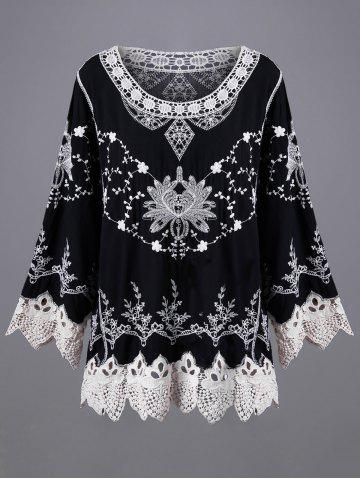 Affordable Tiny Floral Embroidery Scalloped Lace Blouse