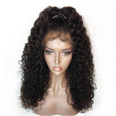 Unique Fluffy Curly Long Lace Frontal Synthetic Wig - BLACK  Mobile