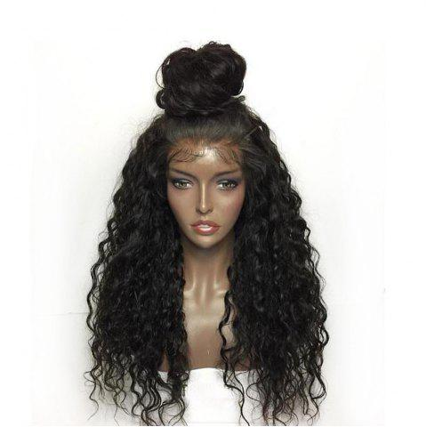 Chic Fluffy Curly Long Lace Frontal Synthetic Wig - BLACK  Mobile