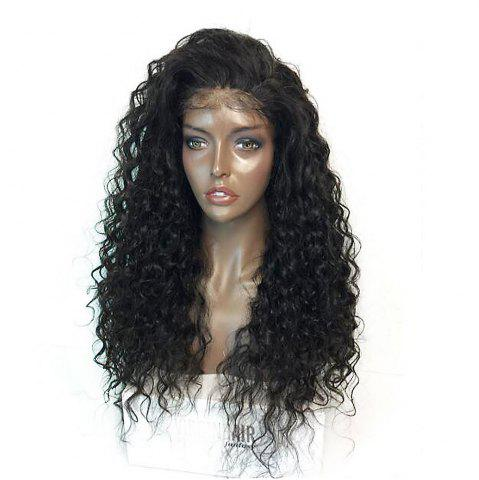 Latest Fluffy Curly Long Lace Frontal Synthetic Wig - BLACK  Mobile