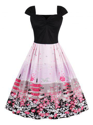 Latest Vintage Floral Tower Print Pin Up Dress PINK S