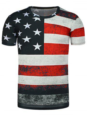 Shops Distressed American Flag Print T Shirt