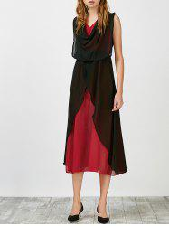 Cowl Neck Color Block Midi Chiffon Dress - RED