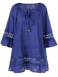 Plus Size Openwork Insert Tie Front Blouse