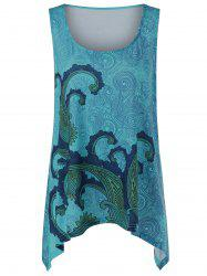 Plus Size Paisley Asymmetrical Tank Top