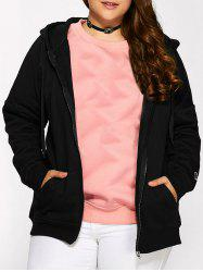 Plus Size Fleece Zip Up Embroidery Hoodie - BLACK