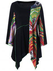 Plus Size Asymmetrical Tie Dye Long Sleeve Tunic T-Shirt