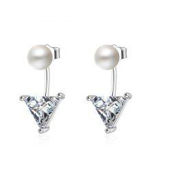 Faux Pearl Triangle Earring Jackets