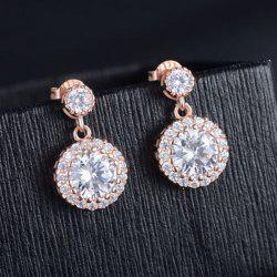 Faux Diamond Round Drop Earrings