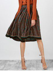 High Rise Geometric Print Pleated Skirt
