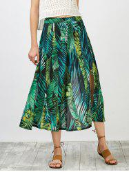 High Waisted Leaf Print Slit Skirt