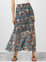High Rise Ornate Print Chiffon Skirt