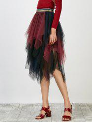 Asymmetrical Mesh Layer Handkerchief Skirt