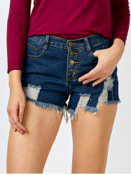 High Rise Button Up Cut off Jean Shorts - DEEP BLUE