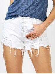 High Rise Button Up Cut off Jean Shorts