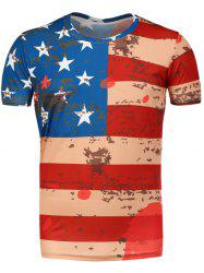 Round Neck Distressed American Flag T-Shirt