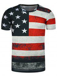Distressed American Flag Print T Shirt - BLACK
