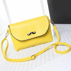 Moustache Detial Candy Color Crossbody Bag - LEMON YELLOW