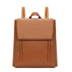 Flap Faux Leather Backpack - BROWN