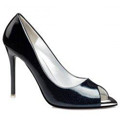 Ombre Patent Leather Peep Toe Shoes