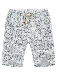 Pocket Pigeon Printed Linen Shorts - WHITE