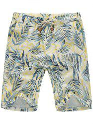 Three Pockets Leaf Print Linen Shorts
